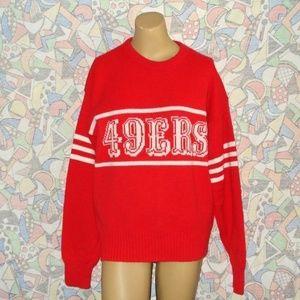 Vintage 49ers Knit Sweater Sz M Cliff Eagle